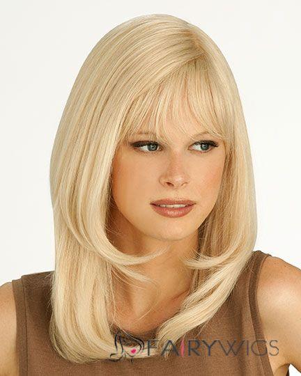 Shining Medium Straight Blonde 16 Inch Real Human Hair