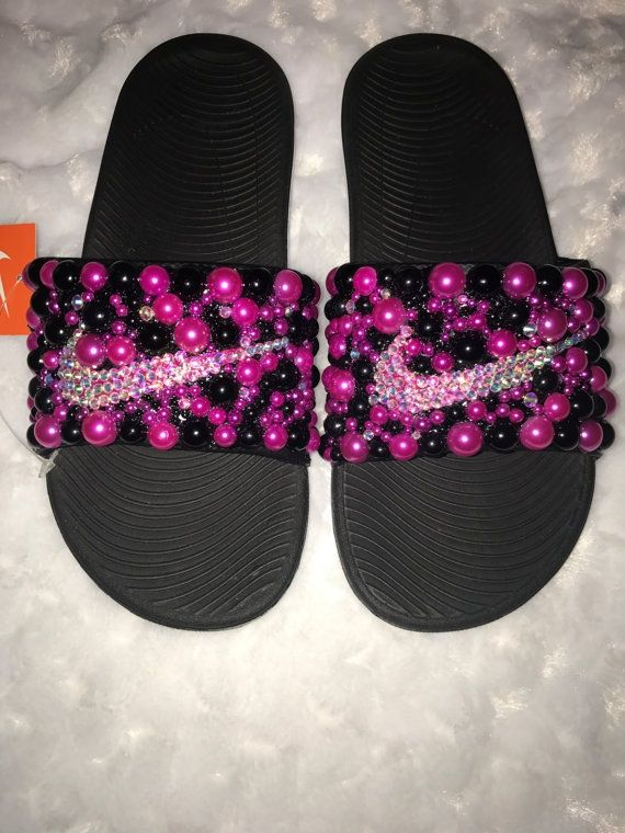 Beautiful Pearl Bling Nike Slides... Please send me a message for sizes,