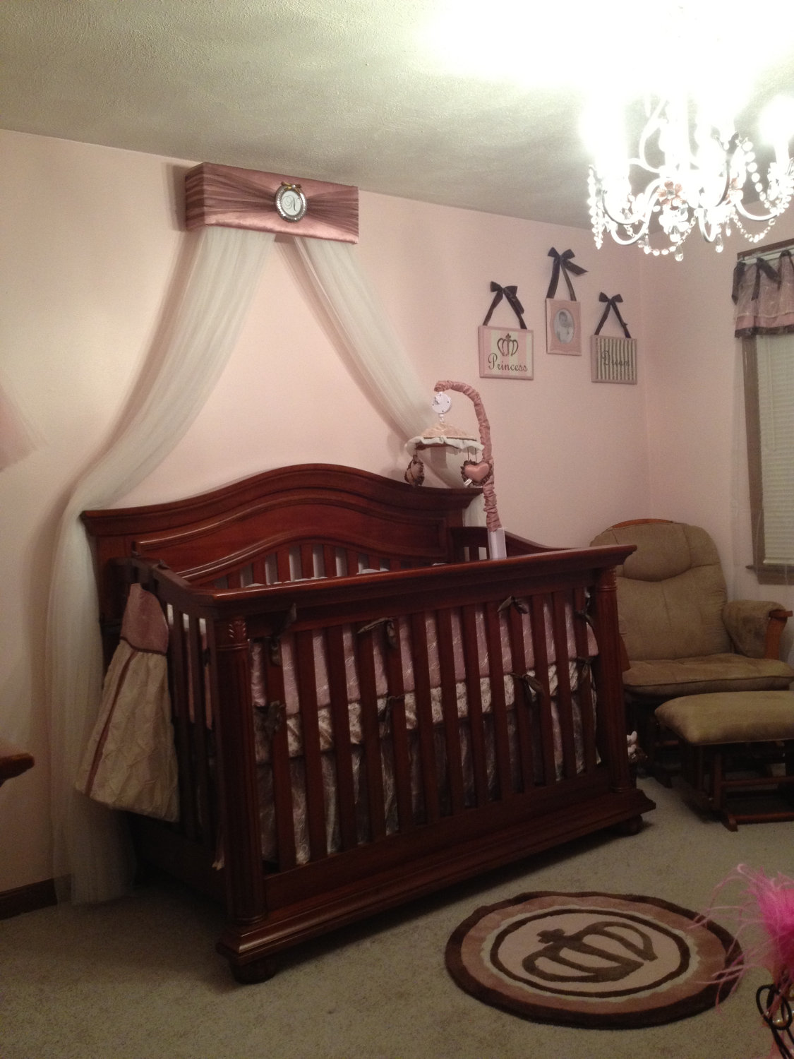 Crib for sale victoria bc - Crib Canopy Bed Crown Jojo Teesters Princess Mauve Pink Brown Silver Personalized Free Drapes