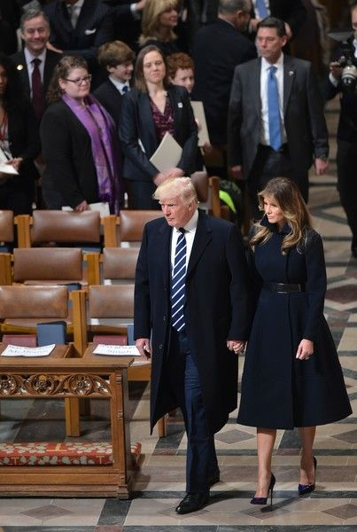 US President Donald Trump and First Lady Melania Trump arrive for the National Prayer Service at the National Cathedral on January 21, 2017, in Washington, DC. / AFP / Mandel NGAN
