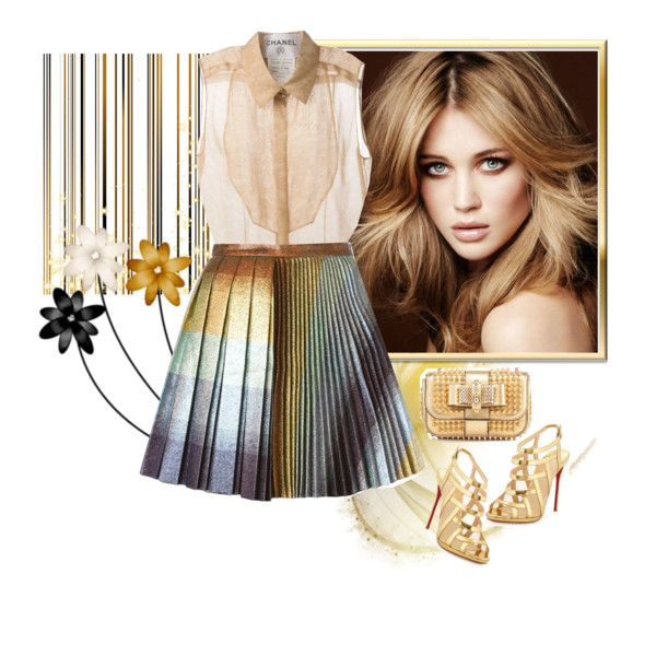 gold sandals by m-jelic on Polyvore featuring Chanel, Marco de ...
