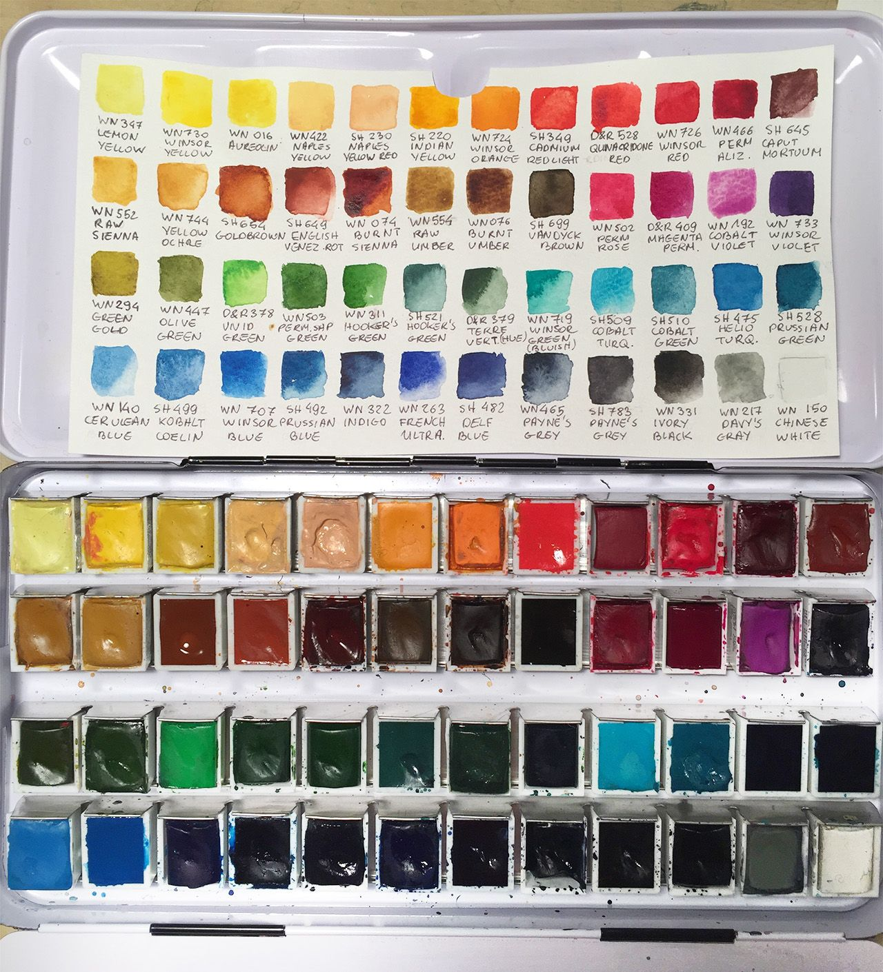 hello! which brand of watercolor are you using?      I bought the standard 24 colour set from Winsor and Newton (artist series not the Cotman), but felt it lacking, so I bought a bigger box (48 colours) and added some colours, replaced some also. Now it's about 28 Winsor&Newton, 16 Schmincke, and 4 fromDaler Rowney (I like the Schmincke ones the best probably) This is a nice way to complete your own set - while you paint you discover what additional colours you want, buy and mix....