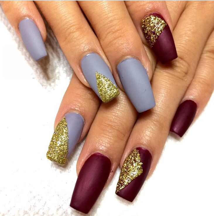 Gray & Burgundy Dipped in Gold // Fall Nails // Coffin Shaped Nails ...