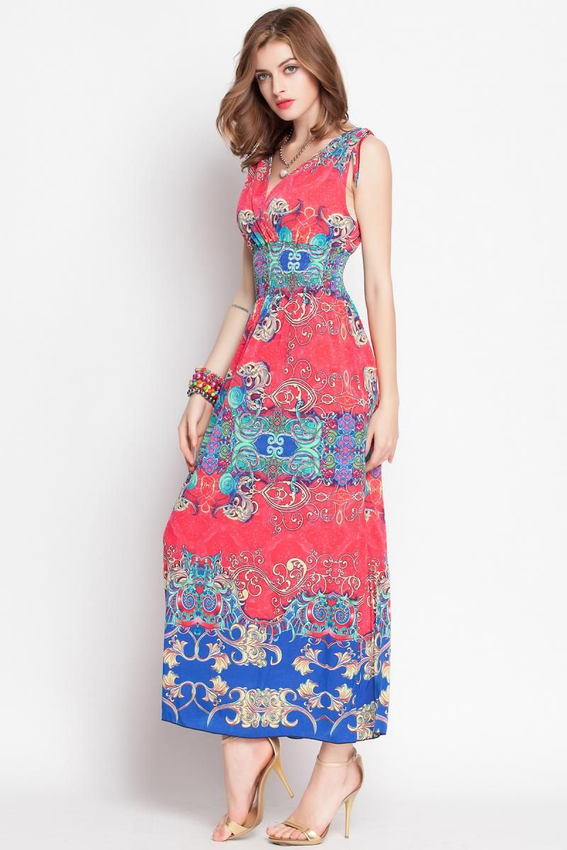 Euro-American Printed Sleeveless Dress _Maxi Dress_Dresses_Women's clothing_Wholesale Clothing online from China,Cheap Korean clothes wholesaler