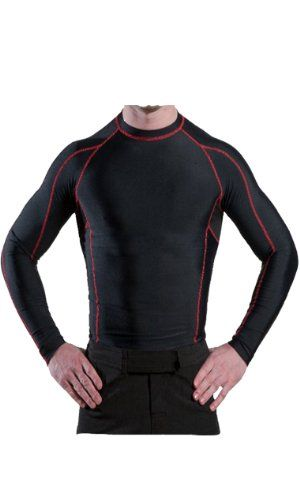 Men s Compression Shirt Long Sleeve (Black Red 8a2eb9df0