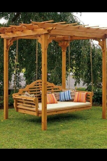 A l furniture co cedar pergola swing bed stand outdoor spaces pinterest terraza jardin for Bairs lawn and garden