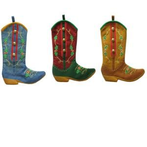 "Sterling Inc. 18"" Decorated Cowboy Boot Denim and Felt Stocking, Set of 3"