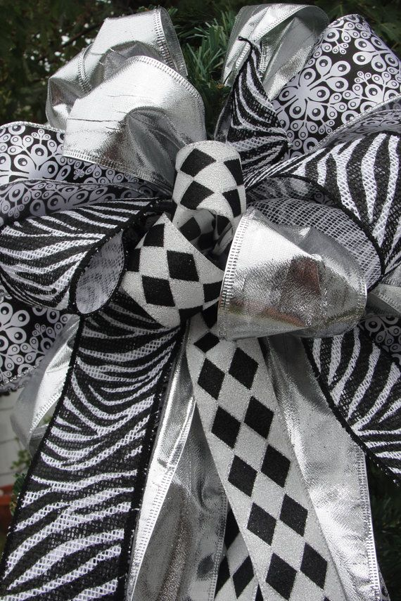 Black white christmas tree top bow zebra by waterhousefloral 23 00