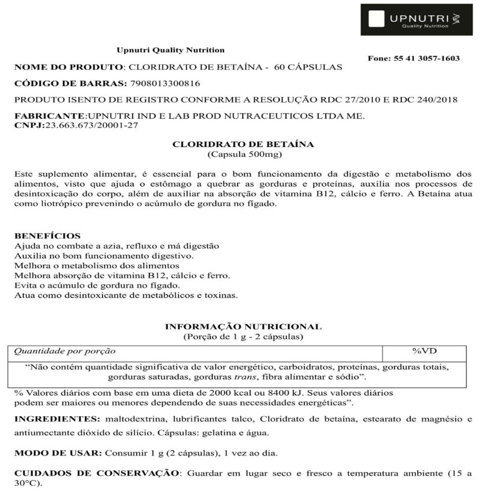 Kit 4x Cloridrato De Betaina Dr Lair 60 Caps Upnutri Porta