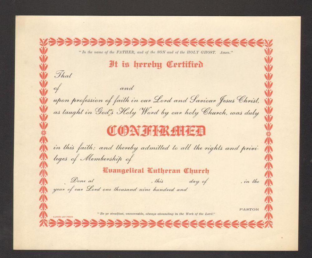 Unused 1900 confirmation certificate evangelical lutheran church unused 1900 confirmation certificate evangelical lutheran church lancaster pa 1betcityfo Images