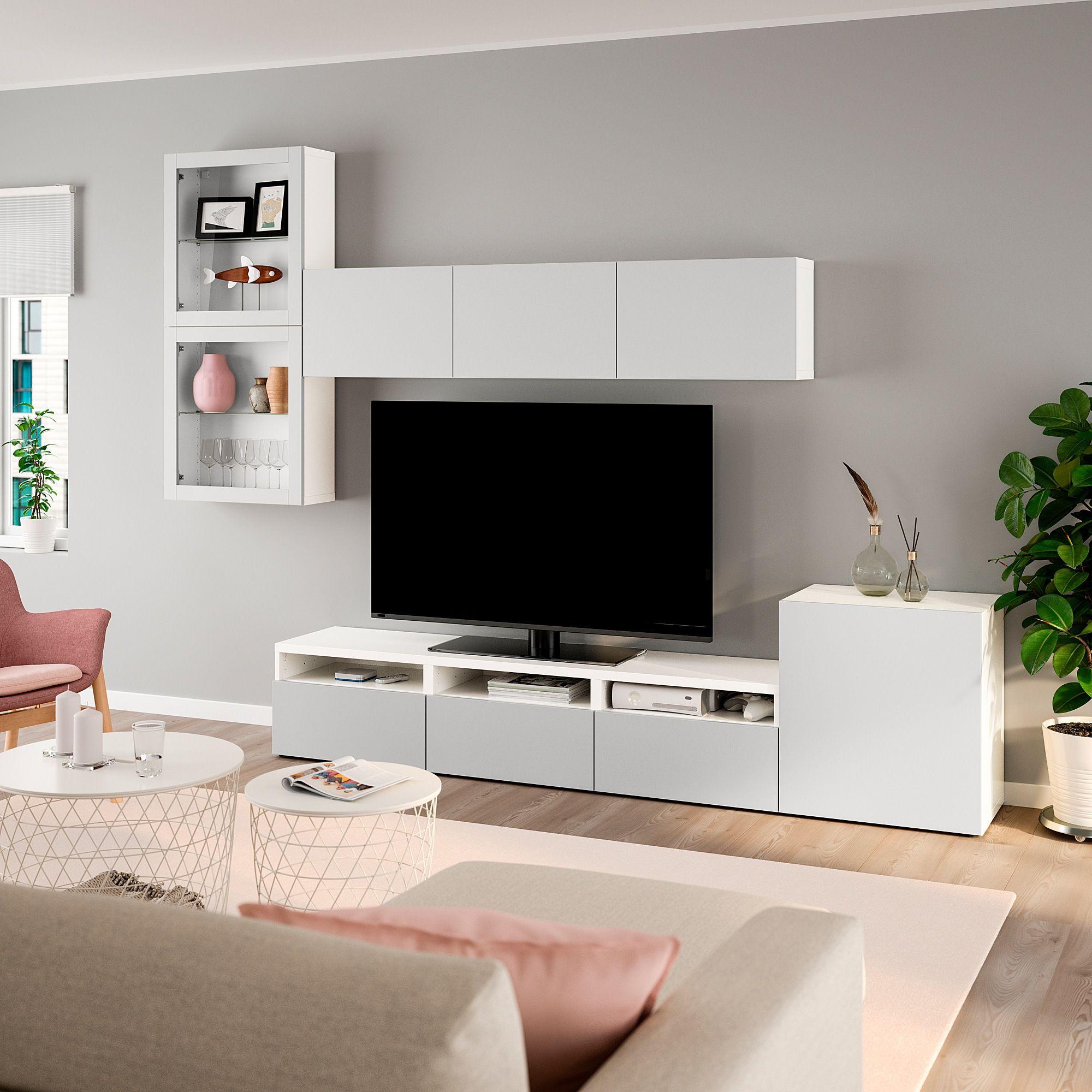 Besta Tv Komb Mit Vitrinenturen Weiss Lappviken Klarglas H Grau Tv Wandgestaltung Tv Wanddekor Wohnung