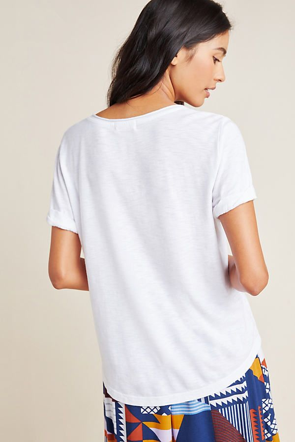 Petite T.La Brandi Scoop Neck Pocket Tee in White Size: L P, Women's Tees at Anthropologie