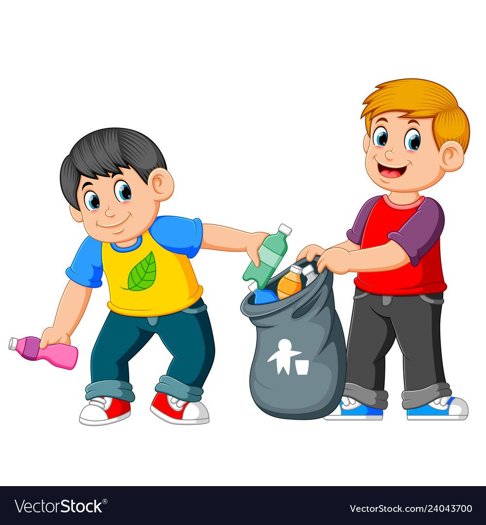 Two Boys Collecting Rubbish Royalty Free Vector Image Kids Reading Books Kids Reading School Wall Art Ideas