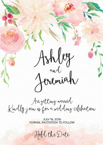 Digital Save The Date Pink Watercolor Flowers