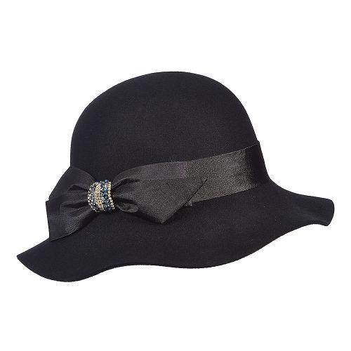af3a39e855f Madamoiselle Callanan LV360 Coal Wool Felt Cloche Hat w  Satin Bow    Rhinestones