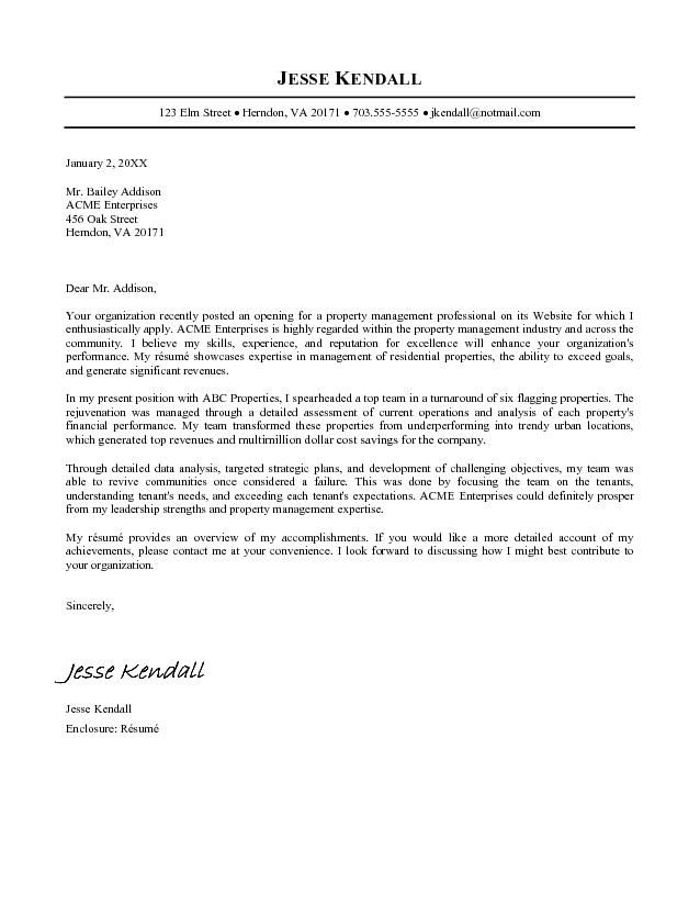 Property Manager Cover Letter Sample Job Cover Letter Cover Letter Example Resume Cover Letter Examples