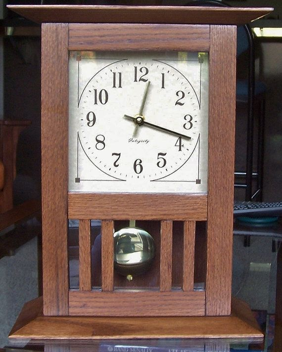 Arts And Crafts Desk Mantel Clock With By