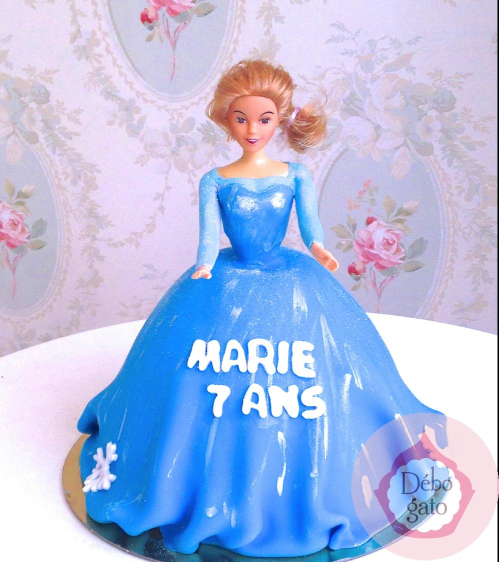G teau princesse reine des neiges poup e robe g teaux - Princesse des neiges ...