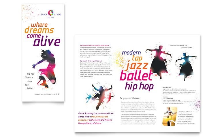 KidS Dance Studio Brochure Template Design  Studio