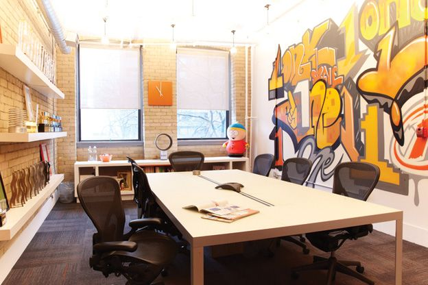 """Great Offices: OneMethod A lead copywriter painted the mural in the main  boardroom. It depicts various takes on the word """"o… 