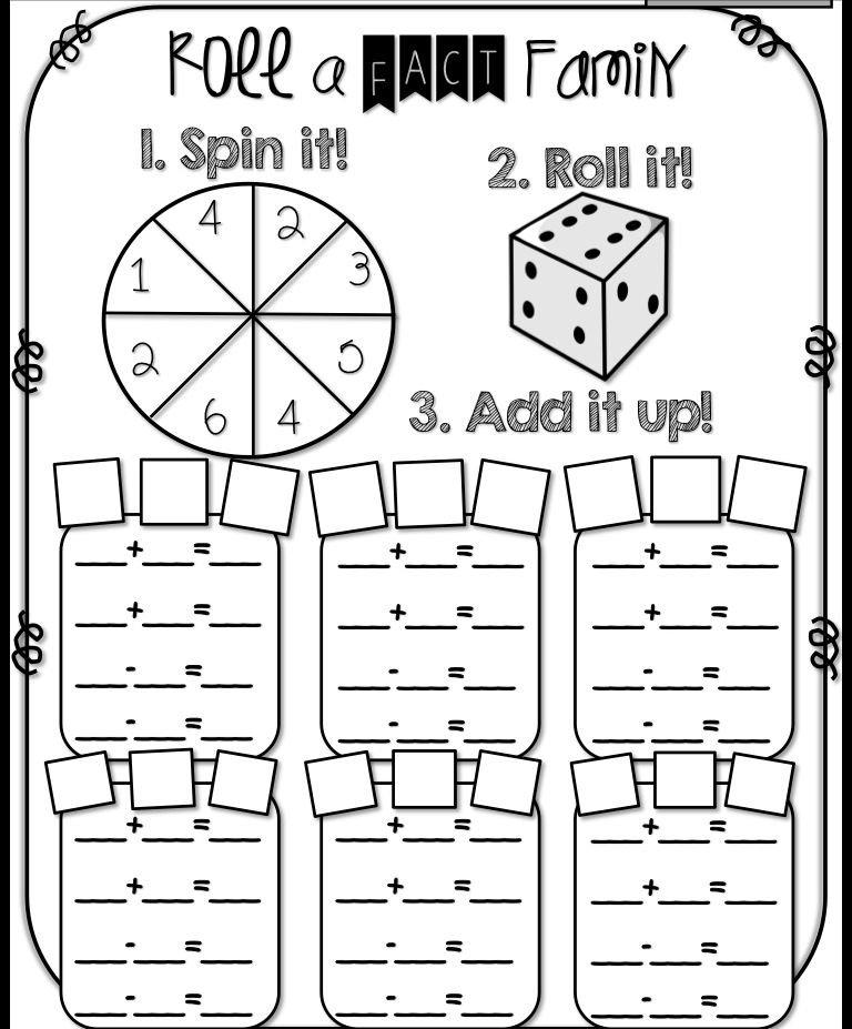 Fact Family Fun Spinners And Dice Fact Family Worksheet First Grade Math Fact Families