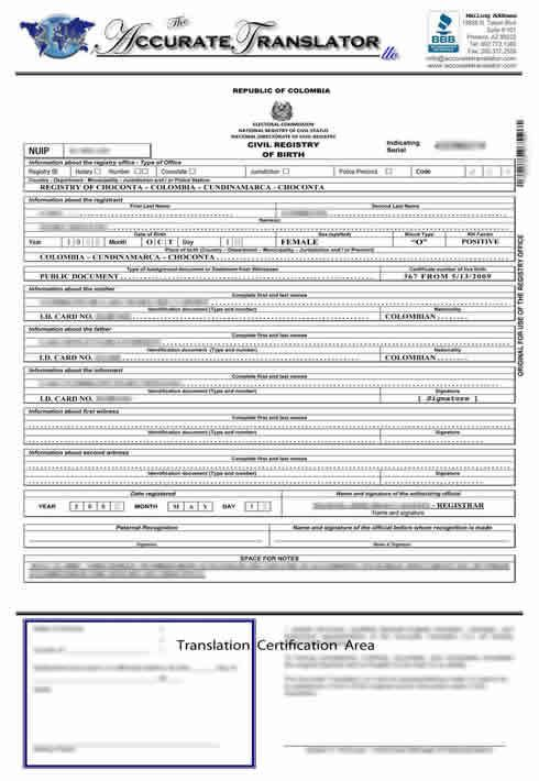 Birth certificate translation of public legal documents birth certificate translation examples for spanish french and portuguese from mexico u brazil and colombia yelopaper Choice Image
