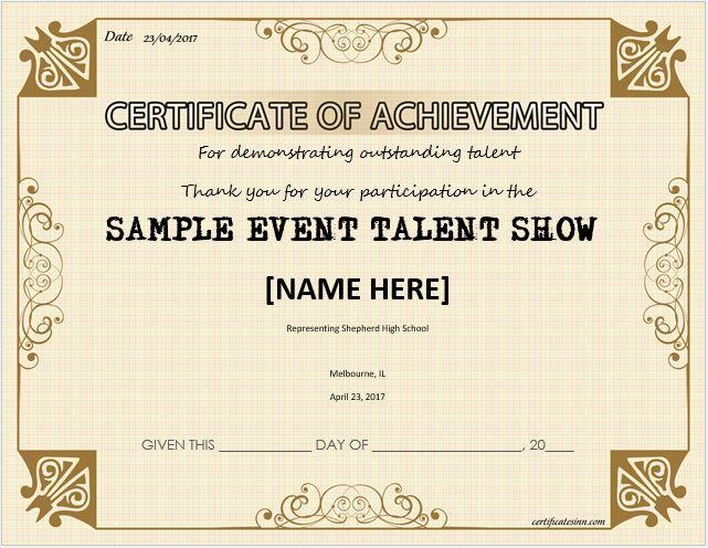 Talent Show Award Certificate Download At HttpCertificatesinn