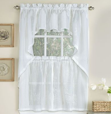 Gridwork Semi Sheer Kitchen Curtain White Curtains Custom