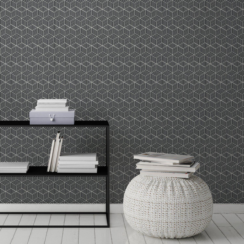 Leroy Merlin Papier Peint Salle De Bain papier peint noir et blanc sous forme de cube | decoration