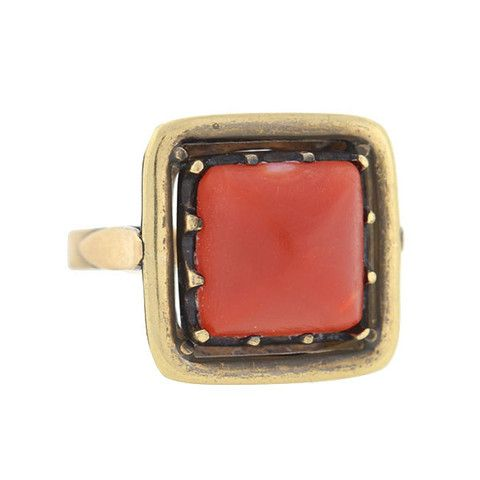 A. Brandt + Son - Art Deco 10kt Yellow Gold & Oxblood Coral Cabochon Ring