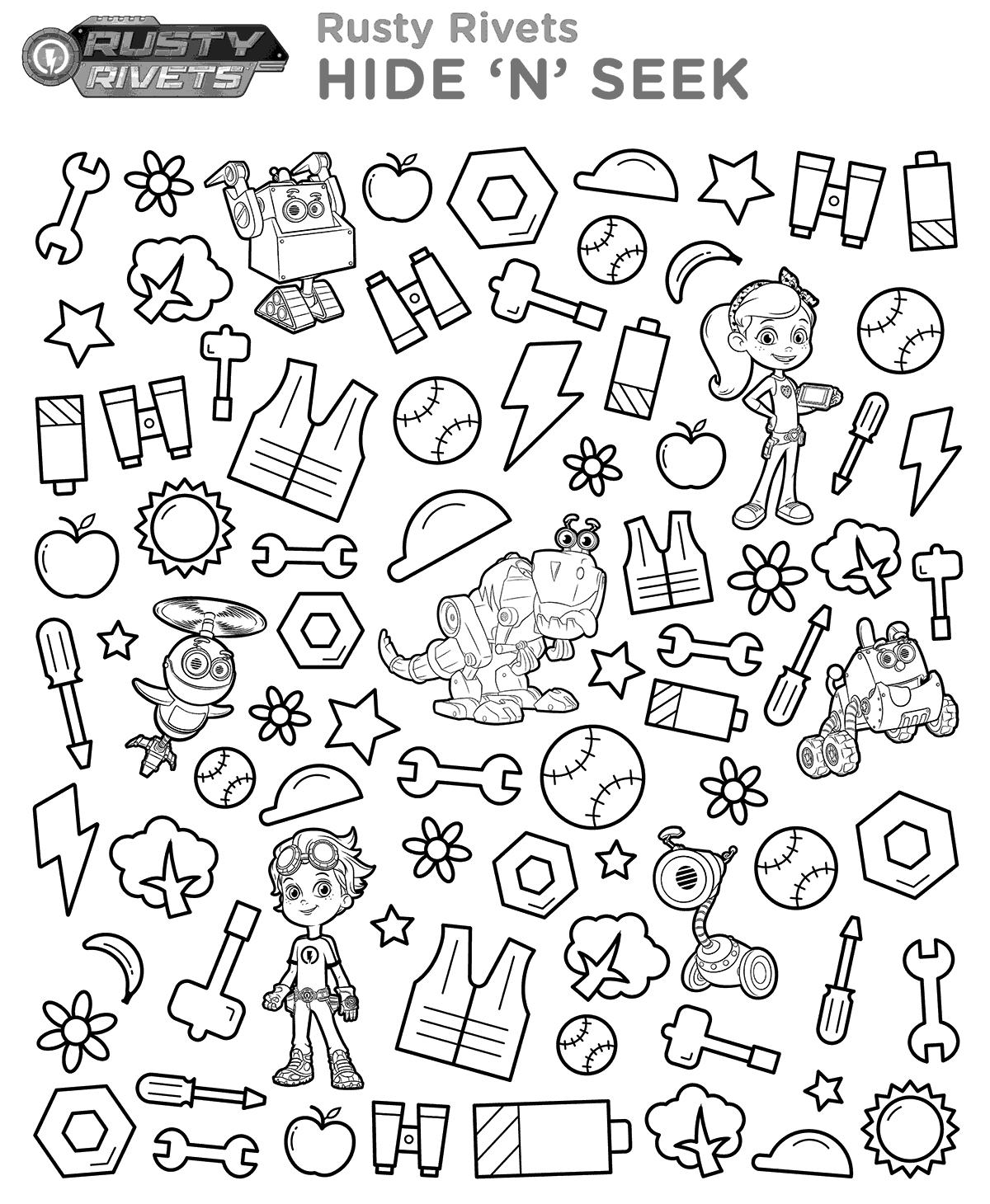 Nick jr rusty rivets hide n seek printable coloring page kids