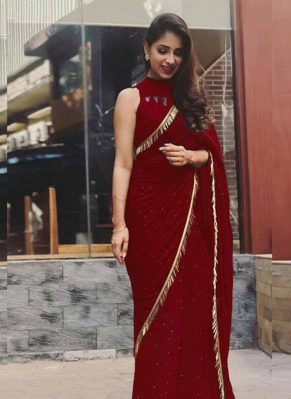 945f4aafd539d8 Georgette saree, maroon saree, handwork saree, banglori silk blouse ...