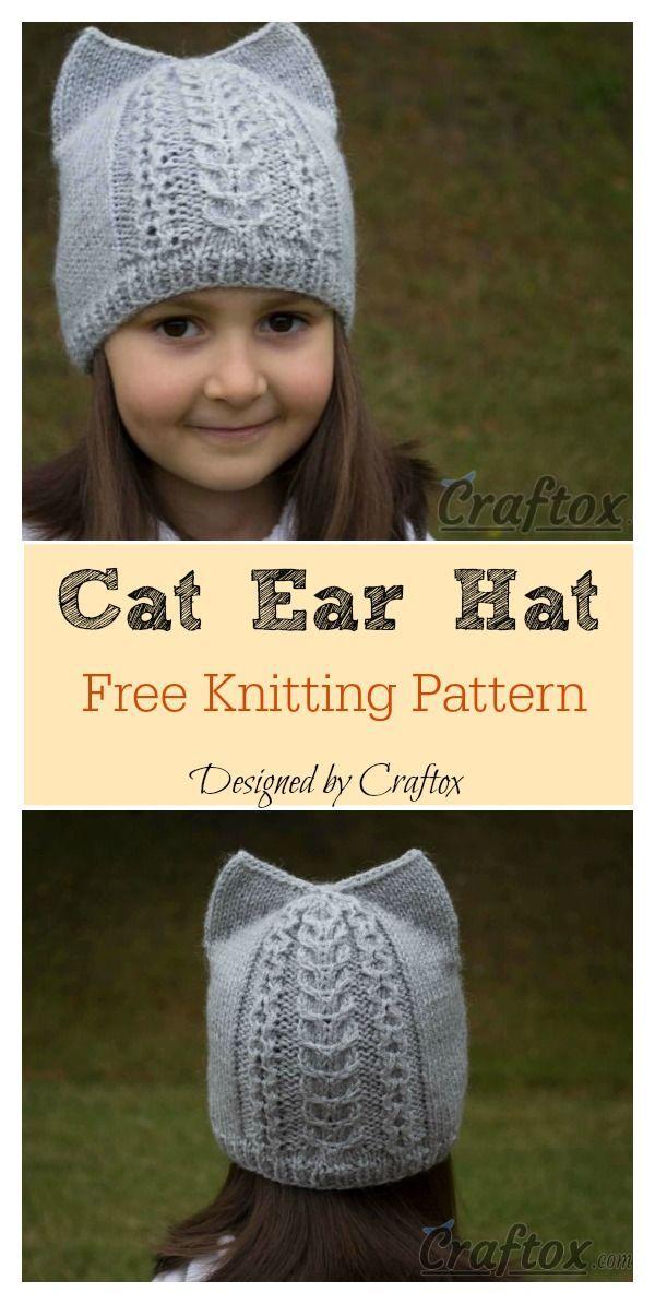 Cat Ear Hat Free Knitting Pattern | Knitting, Baby hats ...