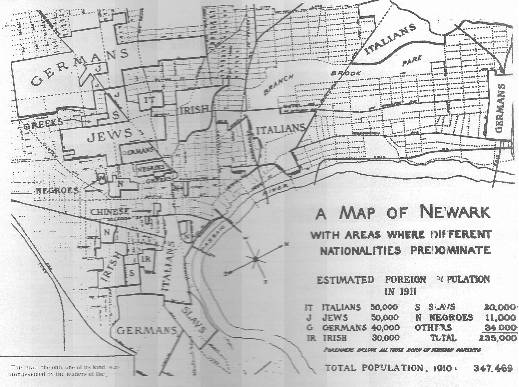 Ethnic map of newark neighborhoods 1911 image newjerseyalmanac ethnic map of newark neighborhoods 1911 image newjerseyalmanac aiddatafo Image collections