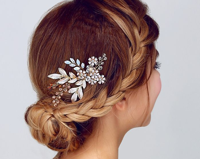 Bridal Party Crystal Pearl Head Flower Wedding Fascinator Hair Comb Headpiece