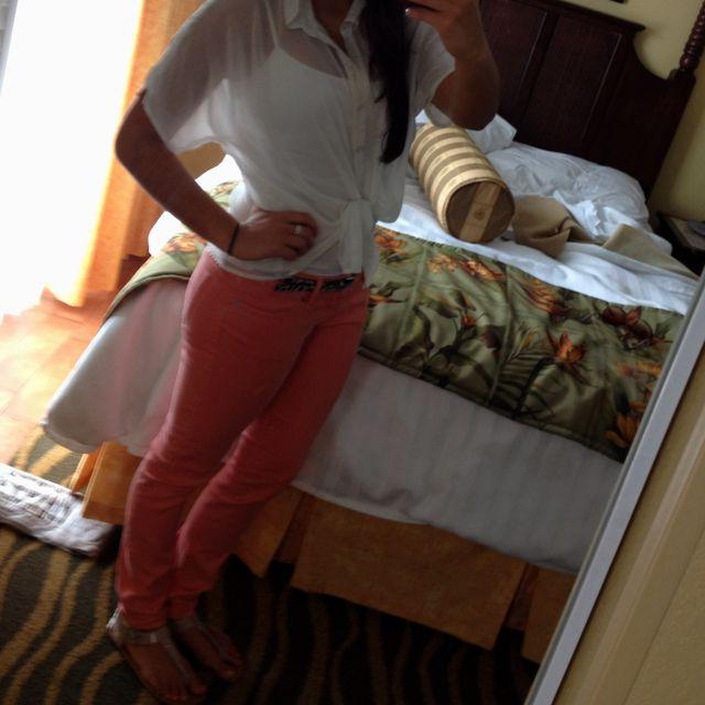 Pink pants .