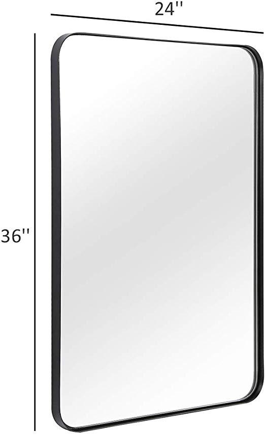 Amazon Com Andy Star Wall Mirror For Bathroom 24x36 Inch Black Bathroom Mirror Stainless Stee Black Bathroom Mirrors Mirror Wall Bathroom Black Mirror Frame