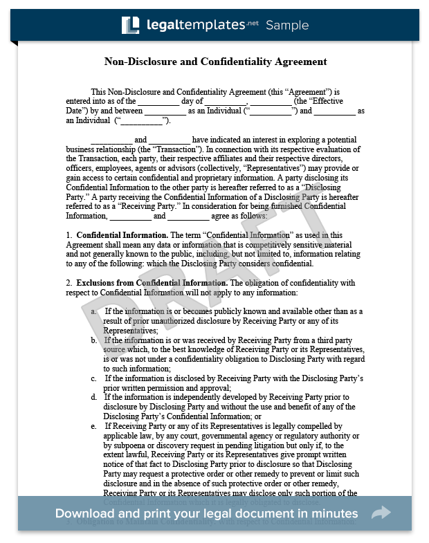 NonDisclosure Agreement Confidentiality Agreement Sample  For