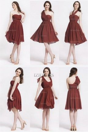 A-Line/Princess Straps Knee-length Chiffon Bridesmaid Dresses - IZIDRESSES.com at IZIDRESSES.com