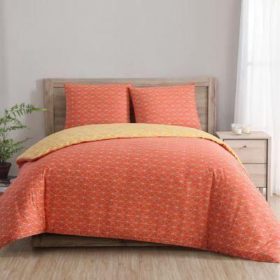Clairebella Geometric Reversible Twin Twin Xl Duvet Cover Set In Yellow Orange Indigo Orange Duvet Sets Bedding Sets Duvet Cover Sets