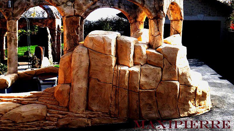 aménagement piscine en faux rochers Pierre reconstituée - photo d amenagement piscine