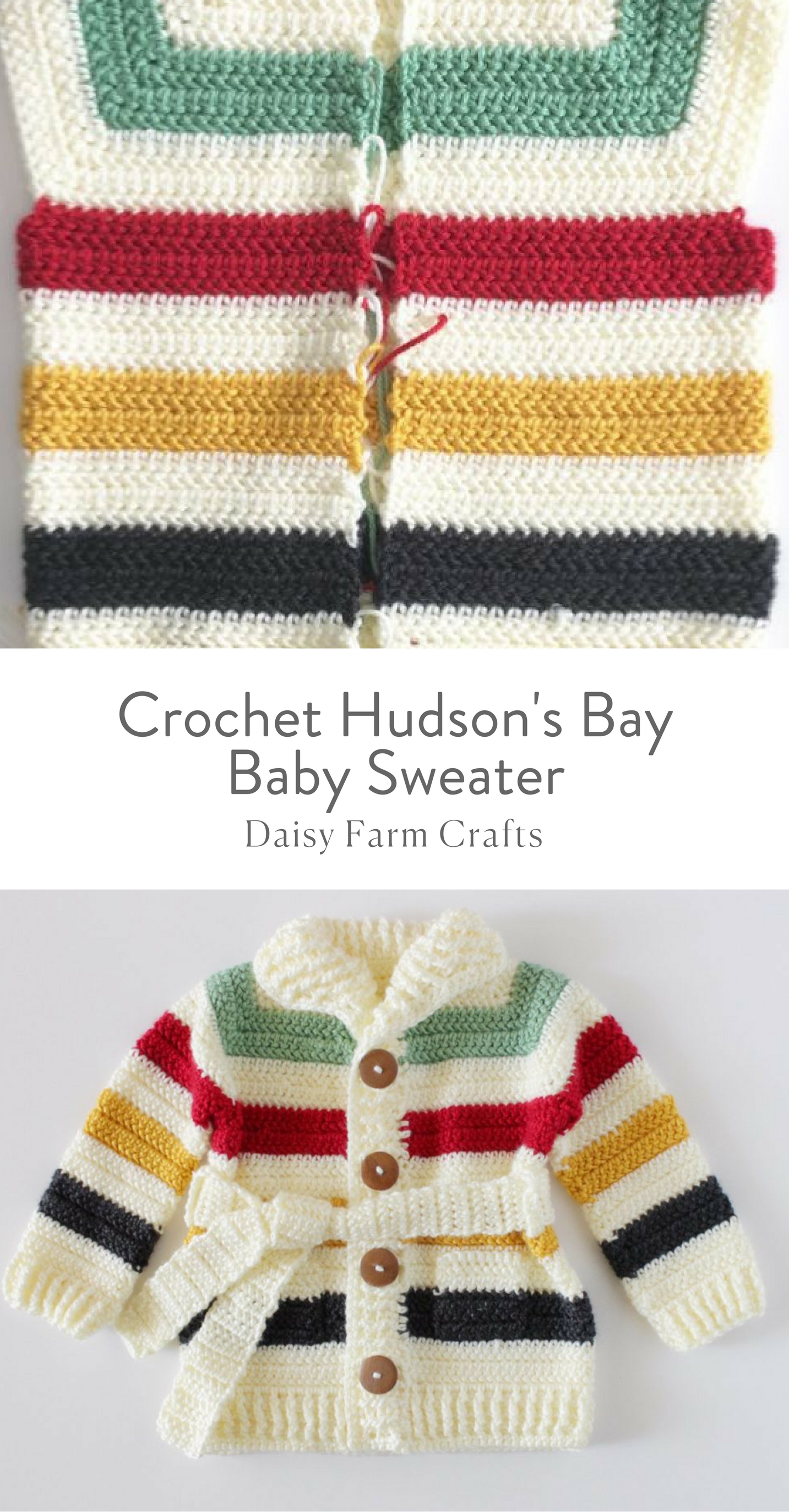 Free Pattern - Crochet Hudson\'s Bay Baby Sweater | For kids ...
