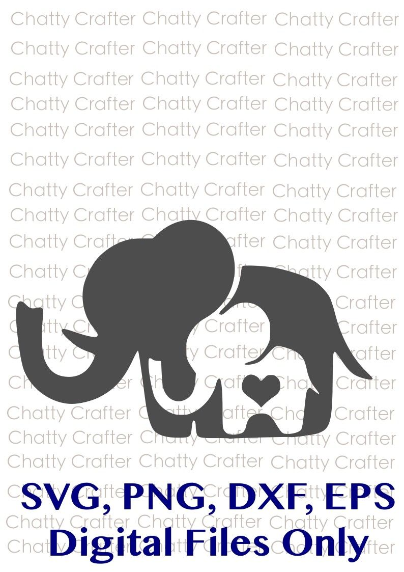 Mom and Baby Elephant Mommy and Baby Digital Download