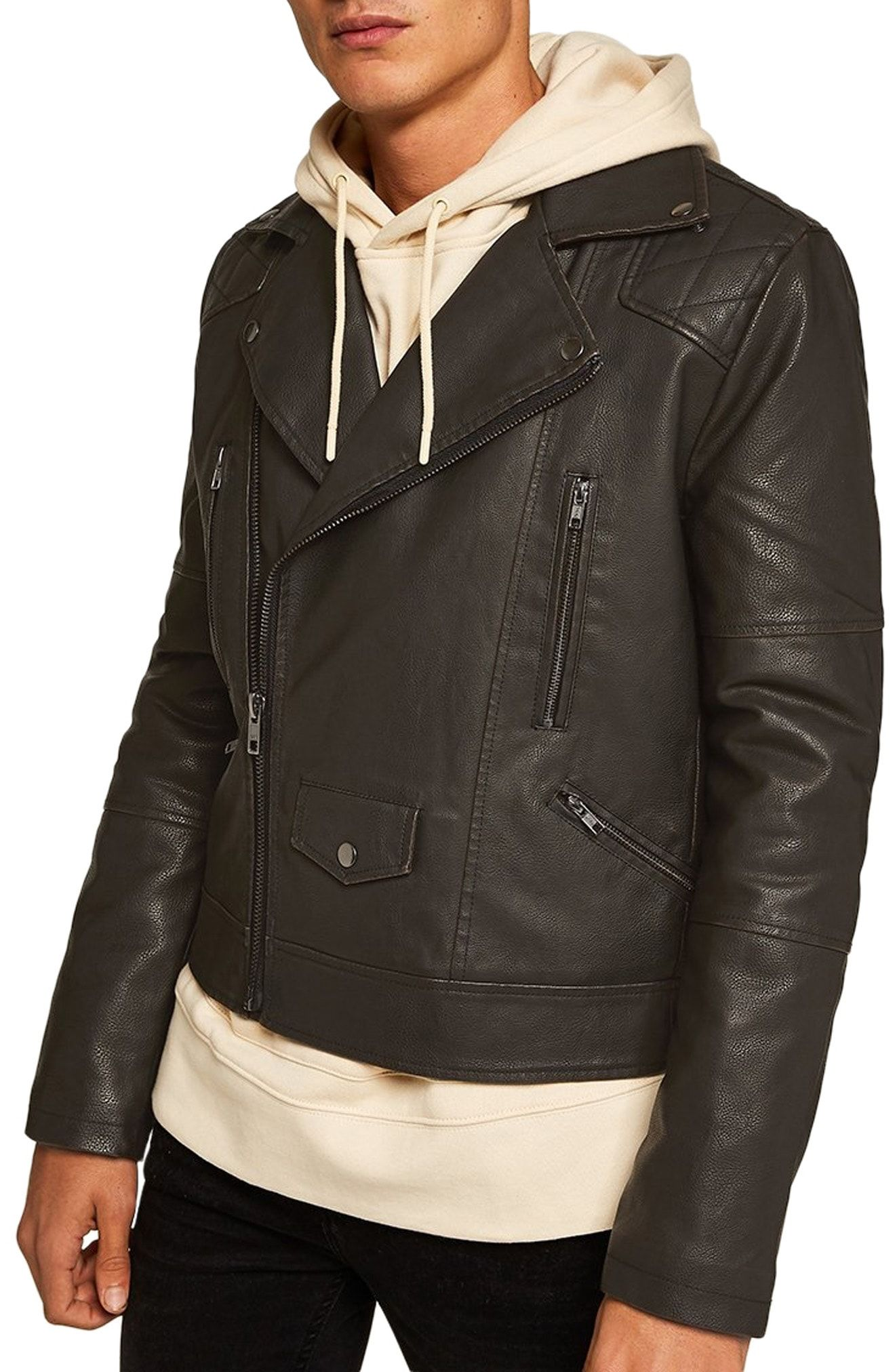 b04566ff7 Topman Classic Fit Faux Leather Biker Jacket available at #Nordstrom ...