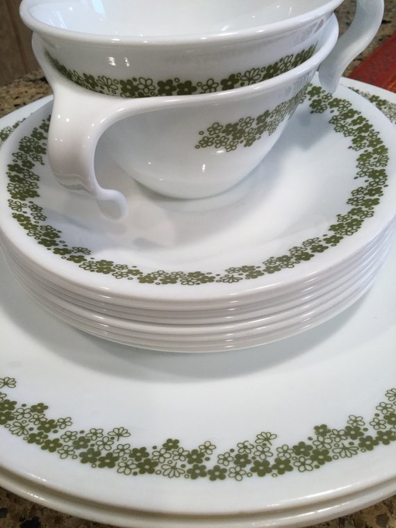 Set of 2 Vintage Corelle Spring Blossom Green Cups and Saucers Mugs 2 34