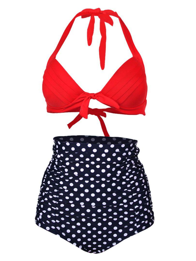 7ee3b2b0bf6a4 Red Halter Bikini Top And High Waist Polka Dot Bottom | Summer ...