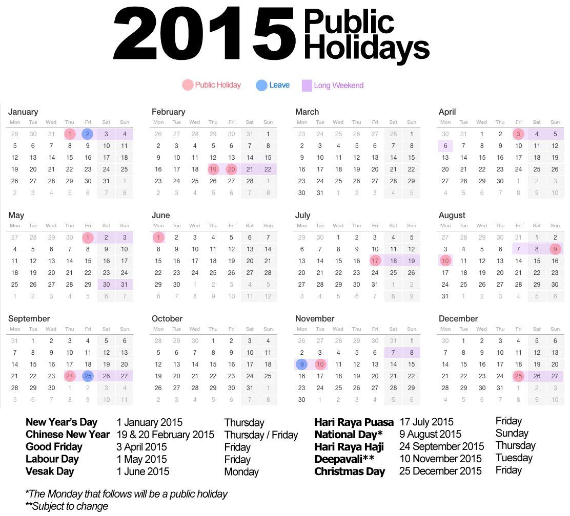 chinese new year 2015 calendar singapore Long weekend