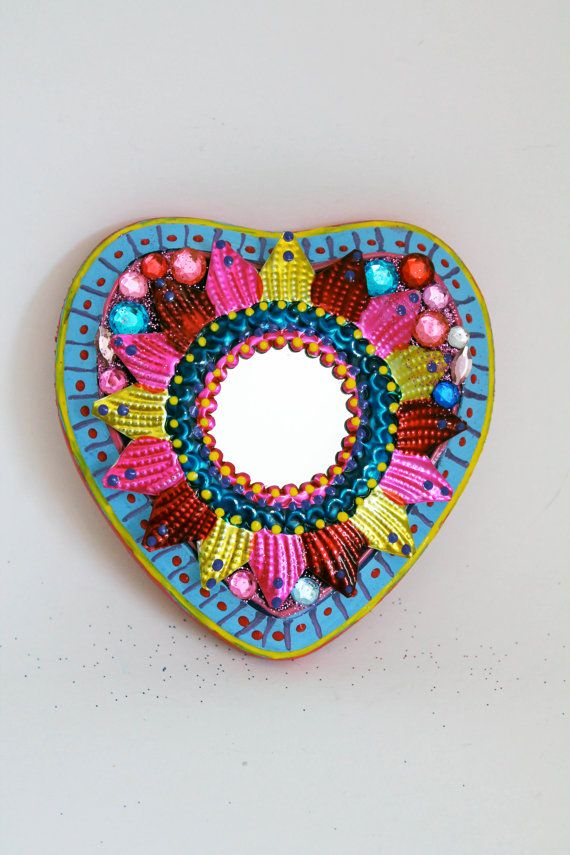 Mexican tin metal mirror on wood plaque / Mexican folk art / bright colorful mixed media / rainbow pink yellow / wedding gift