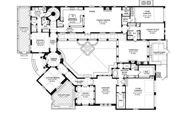 Mediterranean Style House Plan 4 Beds 3 5 Baths 4697 Sq Ft Plan 1058 10 Courtyard House Plans Mediterranean Style House Plans Spanish Style Homes