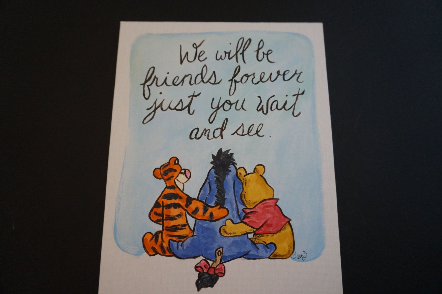 Classic Winnie The Pooh Tigger And Eeyore Hand Painted Flat Canvas 8x10 Friends Forever Friend Gift Saying Goodbye Leaving Home Graduation Friend Canvas Best Friend Canvas Eeyore Paintings